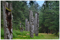 A Row of Mortuary Poles at the Haida Village of Ninstints